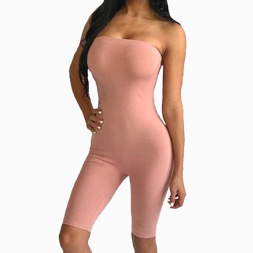 """Nikki"" mauve pink strapless biker one piece jumpsuit romper"