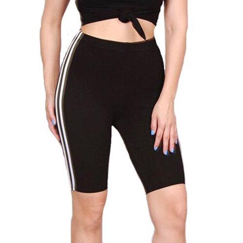 """Lexi"" black stripe biker shorts"