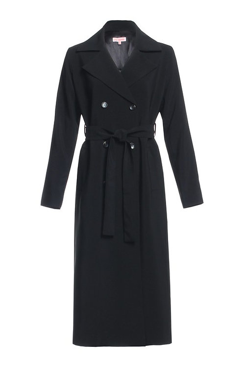 """Jane"" black buttoned tie waist trench coat"