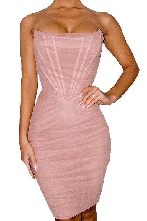 """Dina"" blush pink mesh corset fitted dress"