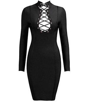 """Avery"" black long sleeve lace up dress"