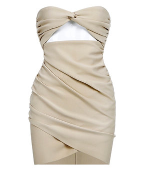 """""""Presley"""" sleeveless fitted rusched cream bodycon dress"""