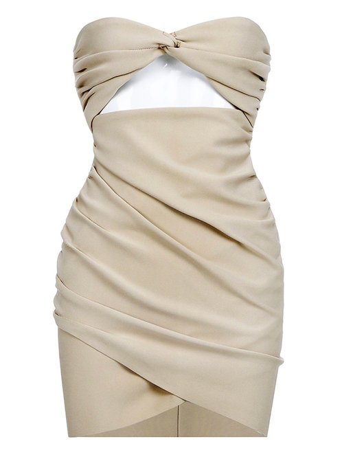 """Presley"" sleeveless fitted rusched cream bodycon dress"