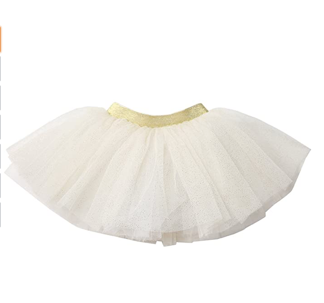 white with gold glitter 12-24m