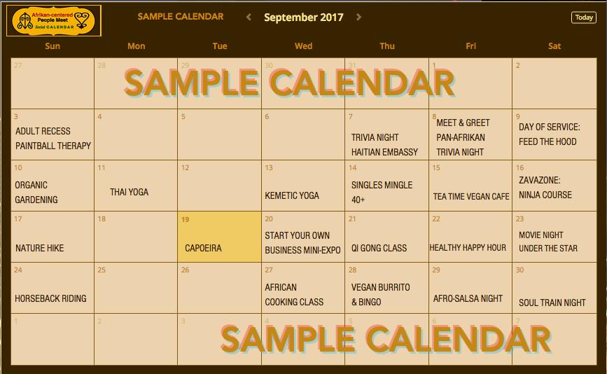 Afrikan-centered Peole Meet Sample Calendar