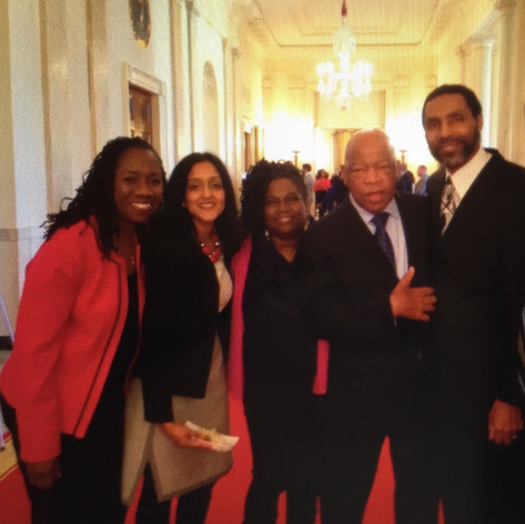 with Sherrilyn Ifill, Vanita Gupta, Congressman John Lewis, Dakarai Kearney at WH