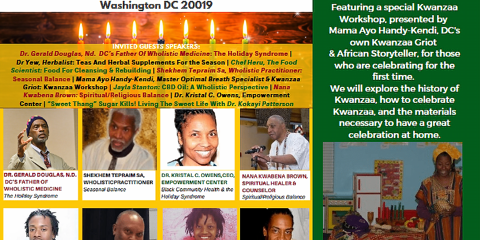 """PRE-KWANZAA WORKSHOP: HOW TO AVOID """"THE HOLIDAY SYNDROME""""  & HEALTHY KWANZAA 7-DAY DIET"""