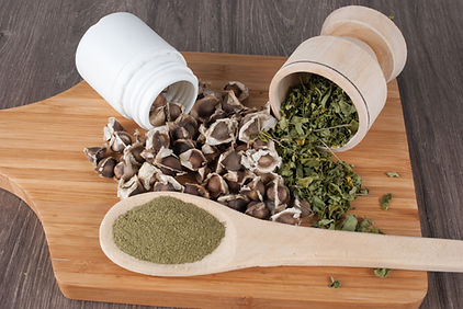 Seeds, leaves and moringa powder - Morin