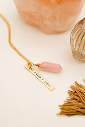 """and still i rise"" feminist phrase necklace"