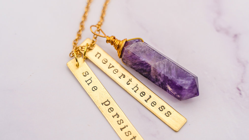 Nevertheless, She Persisted - Feminist Phrase Necklace