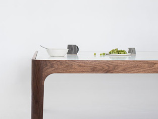 JT Curved Dining Table   Walnut