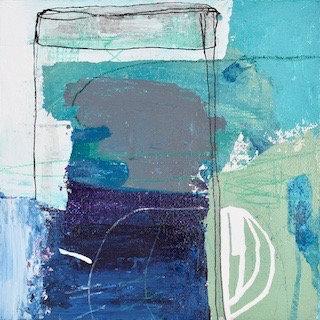 'Blue maps ' 6x6 canvas board - framed
