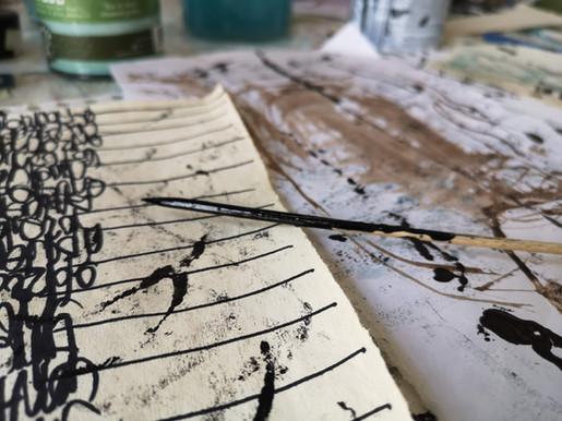 Markmaking tools + asemic writing