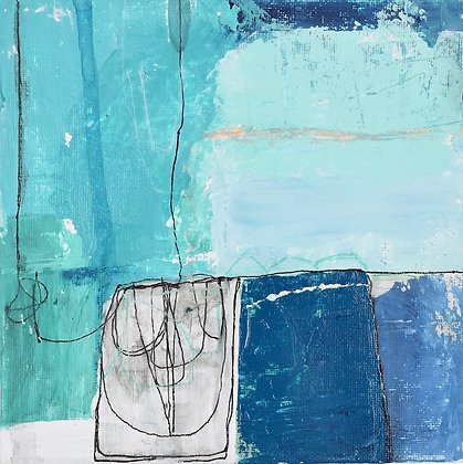"'Blue map 3' 6x6"" framed"