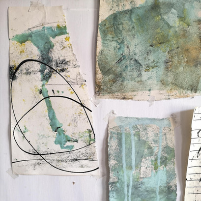 Markmaking on collage papers