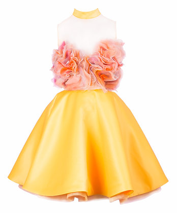 Blooming Flower Dress in Yellow