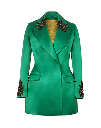 Deep Green Blazer with Hand Embellished Embroidery