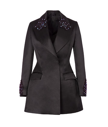 Black Blazer with Hand Embellished Embroidery