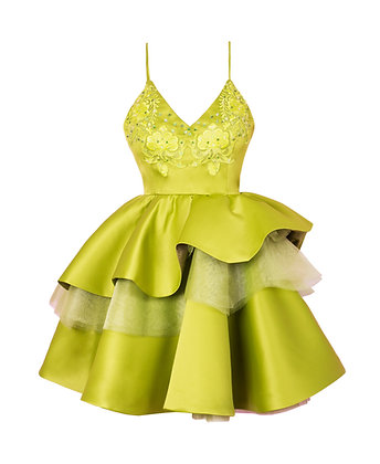 Layered Bright Green Dress with Hand Embellished Embroidery