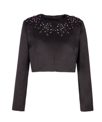 Black Jacket with Hand Embellished Embroidery