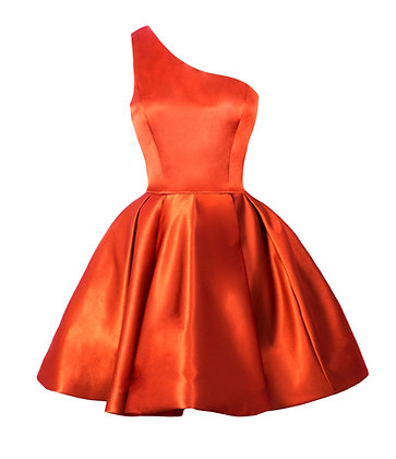 One Shoulder Orange Dress