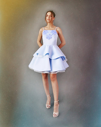 Angel Blue Dress with Hand Embellished Embroidery