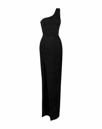 One Shoulder Black Dress with a Slit