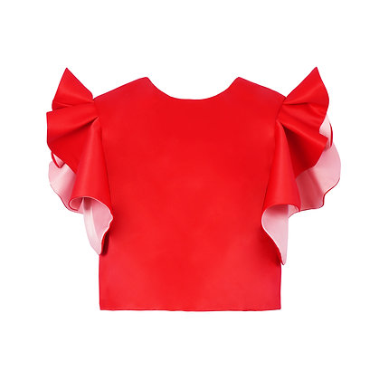 Folded Red Flower Blouse with Colorful Sleeves