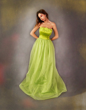 Bright Green Corset Dress with Hand Embellished Embroidery