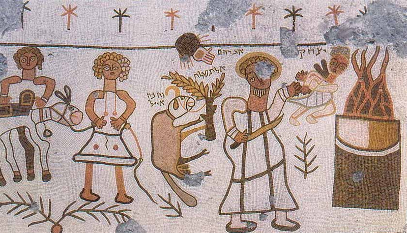 (The Akeda (binding of Isaac), a mosaic of Beth Alpha, a sixth-century synagogue located at the foot of the northern slopes of the Gilboa mountains near Beit She'an, Israel)