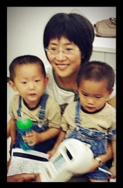 Dr. Pang and her twin boys. Photo credit goes to Susan Williams.