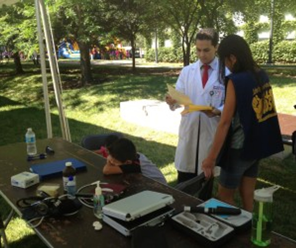 optometrist and student