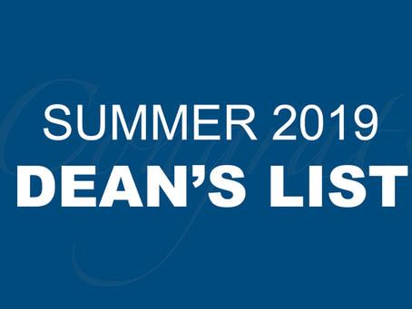 Summer 2019 Dean's List