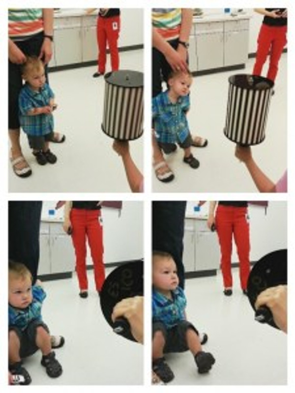 Here is little Paxton, looking at the OKN drum until he pretty much got tired