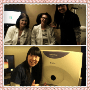 Top: taking pictures with 2 of the doctors I work with. From left, Dr. Debra Simon (ICO 2001) and Dr. Cara Ystad (ICO 2005)  Bottom: I am a queen of Optomap. It is a good screening tool for viewing patient's retina without the hassel of dilating pupils. In classes, we discuss the convenience of Optomap but address the necessity of dilated fundus exams that exists for certain patients.