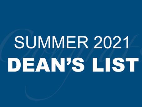 Summer 2021 Dean's List