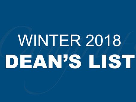 Winter 2018 Dean's List