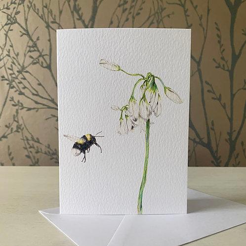 Bumble Bee & Wild Garlic A6 Greeting Card