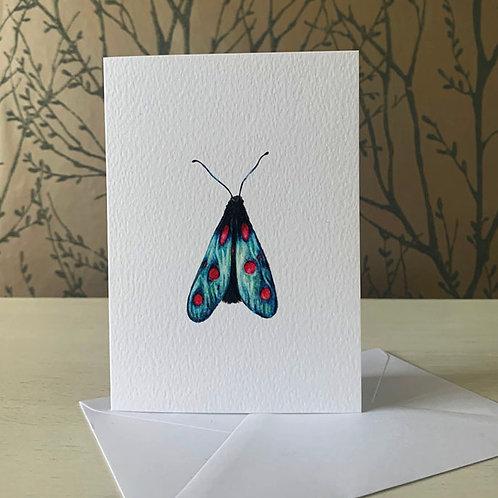 Spot Burnet Moth A6 Greeting Card