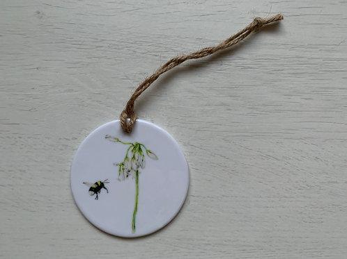 Bumble Bee & Wild Garlic Ceramic Ornament
