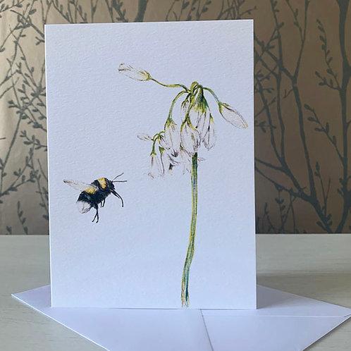 """Bumble Bee & Wild Garlic 5"""" X 7"""" Greeting Card"""