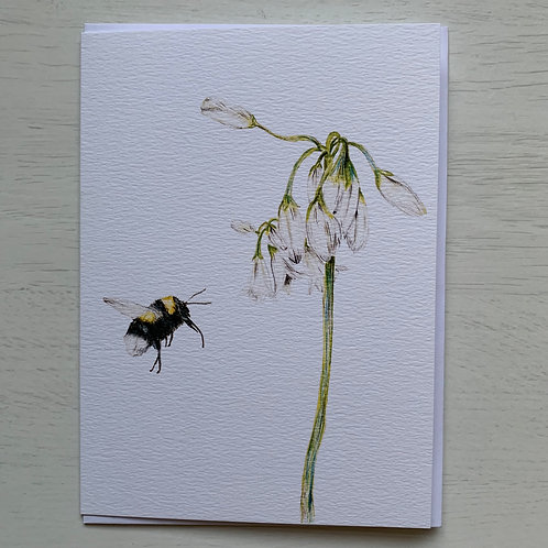 Bumble Bee & Wild Garlic Greeting Card