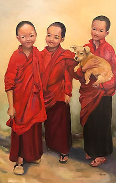 Bhutanese Nuns with Furry Friend.jpg