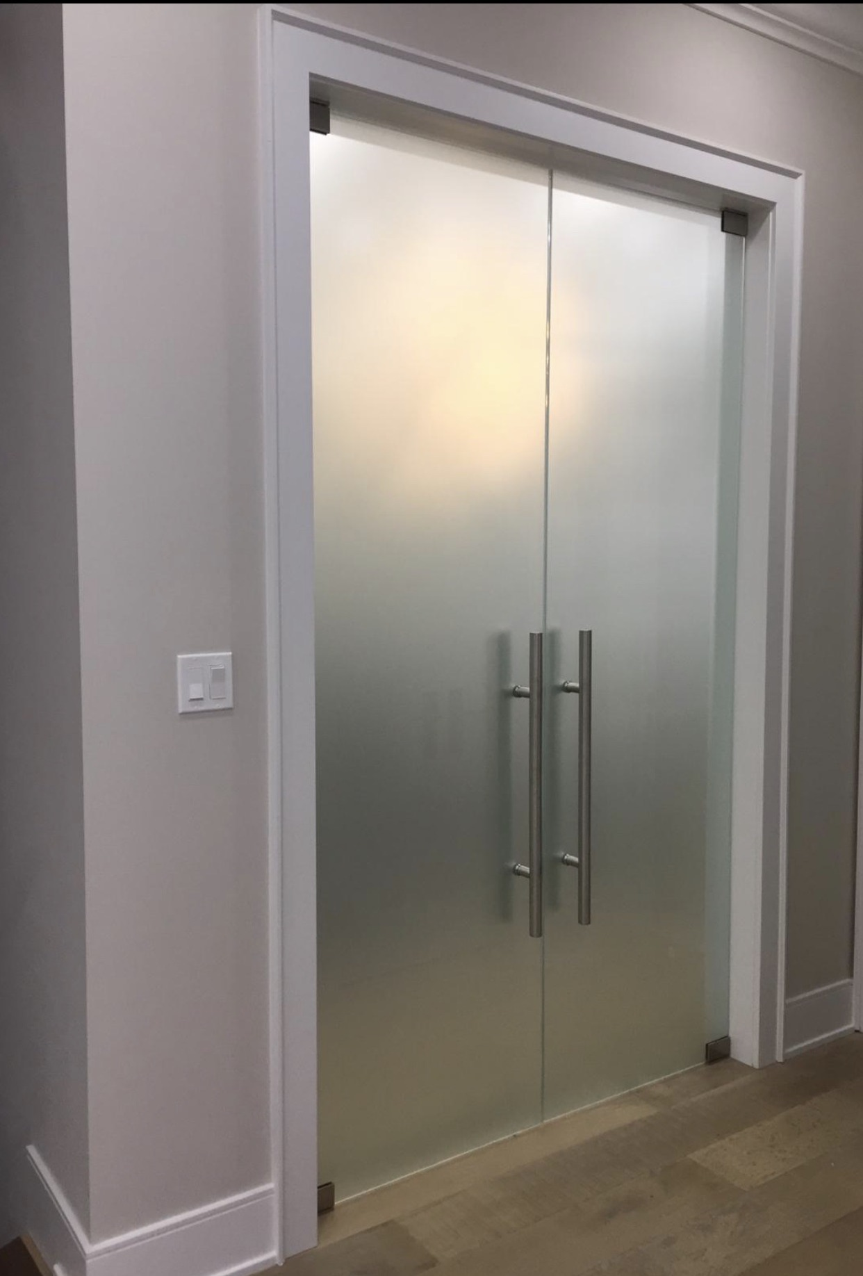 FROSTED DOUBLE DOORS