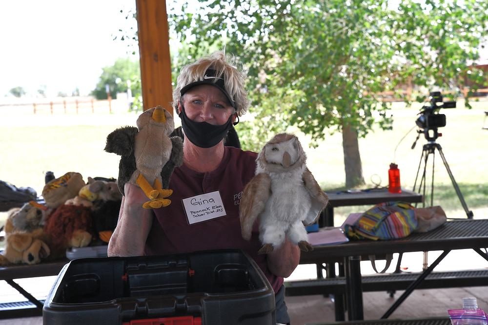 SOLE Teacher Gina exploring a Critter Crate about birds.