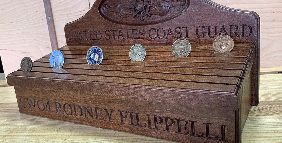 Coin Rack w/ Coast Guard Insignia Background