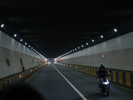 Riding A Scooter At Night