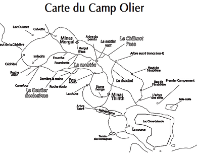Carte de la forêt du Camp Olier
