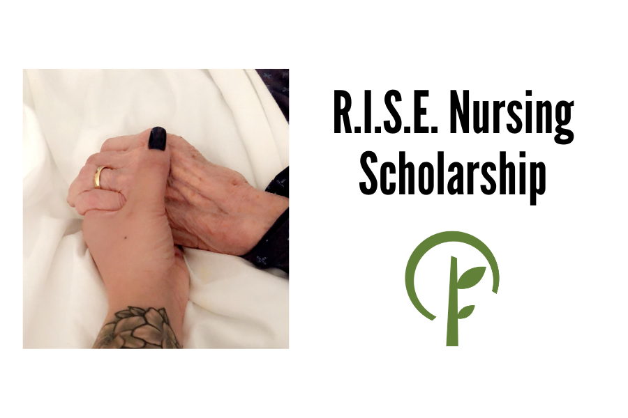 Image of young person's hand holding an elderly person's hand and a logo for the Community Foundation of Northern Illinois
