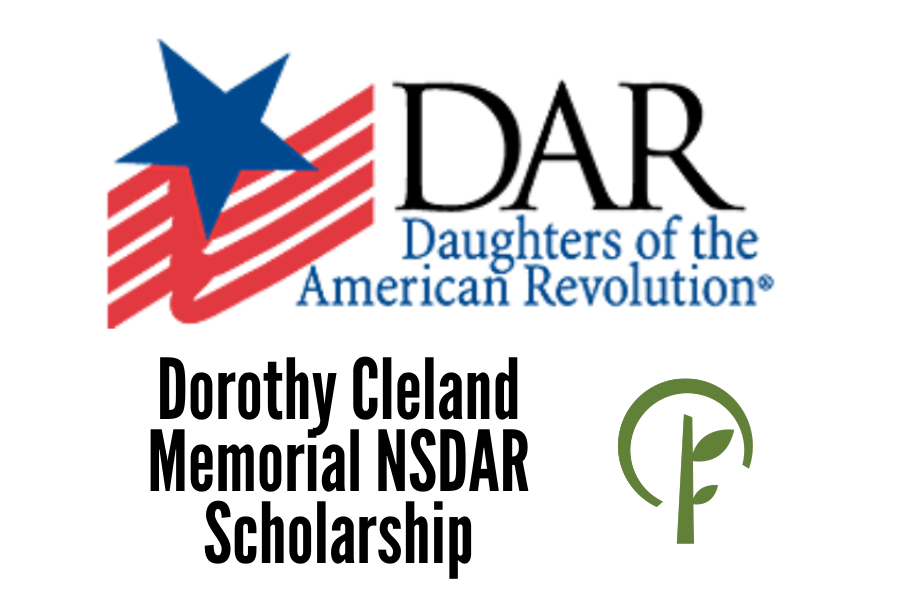 Logos for the Daughters of the American Revolution and the Community Foundation of Northern Illinois.